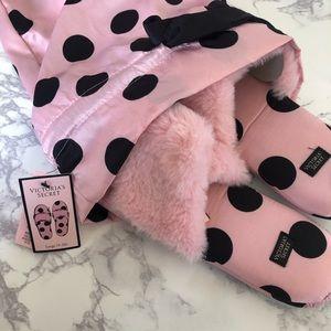Victoria Secret Pink & Black Polka Dot Satin Sz L